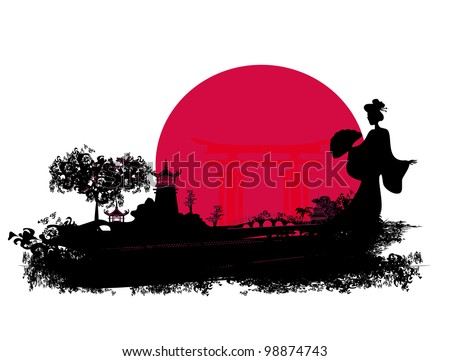abstract Asian Landscape - stock vector