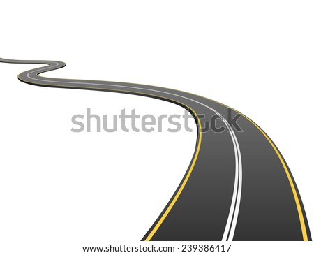 Abstract asphalt road going to the distance isolated on white background. - stock vector
