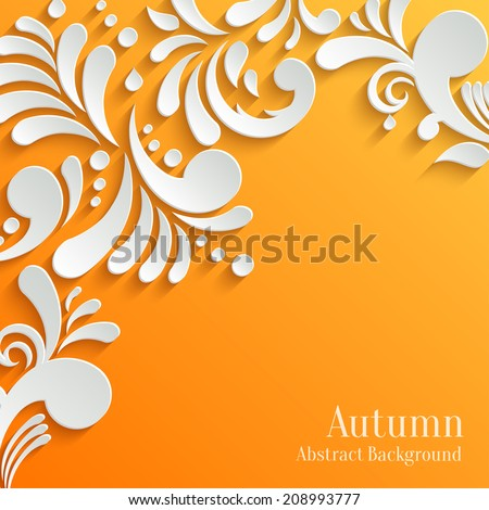 Abstract Autumn Orange Background with 3d Floral Pattern. Trendy Design Template - stock vector