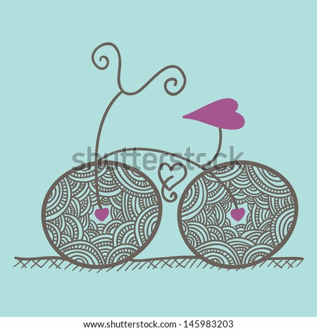abstract baby pram hearts - stock vector
