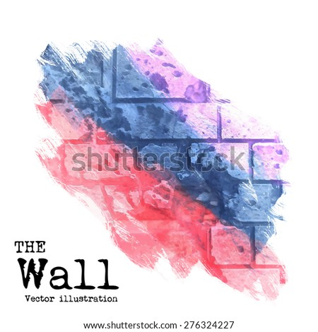 abstract background, brick wall painted with spots of different colors, vector illustration - stock vector