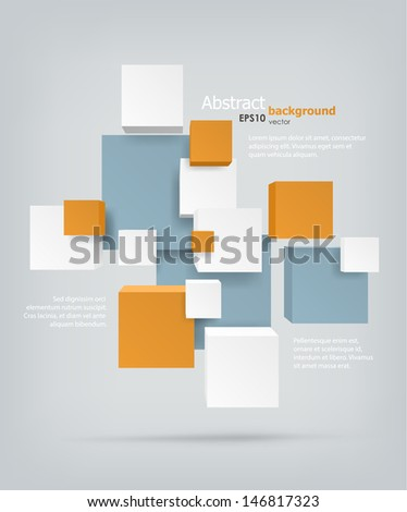 Abstract background. Chaotic cubes with copyspaces. EPS10 vector. - stock vector
