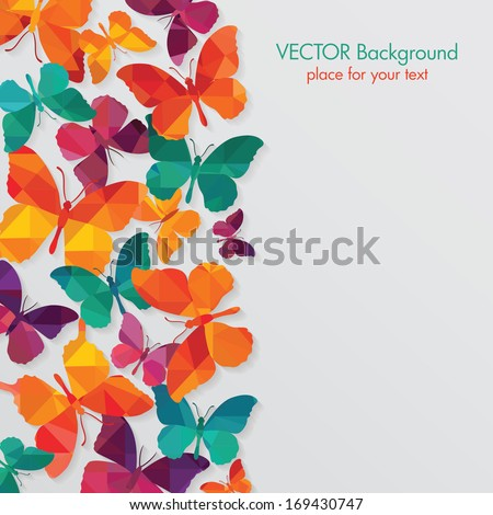 Abstract background. Colorful butterflies - stock vector