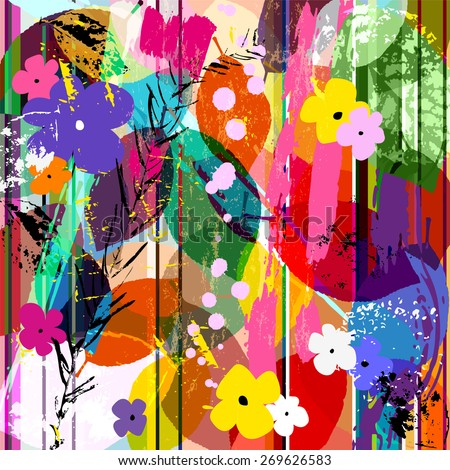 abstract background composition with little flowers, strokes, splashes and leaves - stock vector