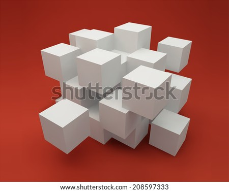 Abstract background consisting of white cubes - stock vector