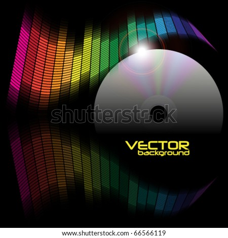 Abstract Background - Equalizer and CD Disc - stock vector