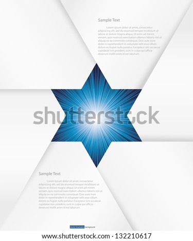 abstract background for sample text with burst in the center :star shape : white&deep blue - stock vector