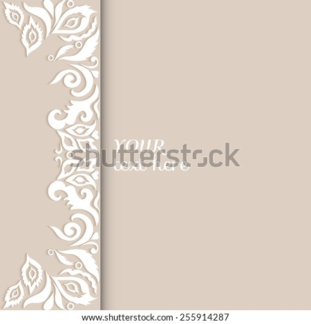 Abstract background, frame border floral pattern, wedding invitation or greeting card design, beautiful luxury postcard, ornate page cover, ornamental vector illustration - stock vector