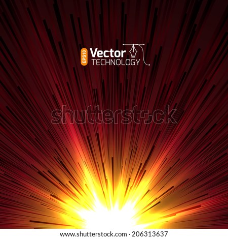 Abstract background - illustration of big explosion, catastrophe. Big bang. - stock vector