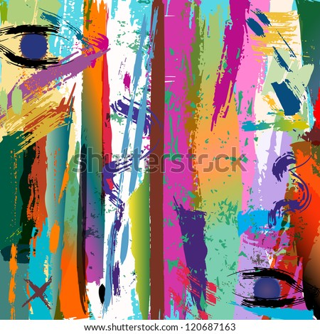 abstract background illustration with paint strokes and splashes - stock vector