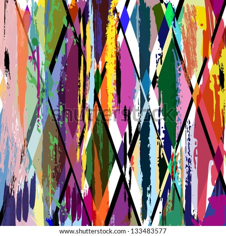 abstract background illustration, with strokes, splashes and geometric lines - stock vector