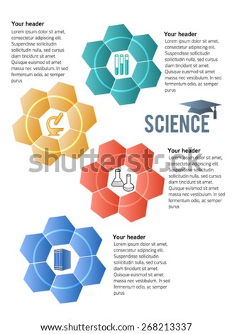 Abstract background in style infographics science education concept. Vector Illustration EPS 10, Graphic Design elements tehno flowers with icon microscope, books, test tube, flask, graduation cap - stock vector