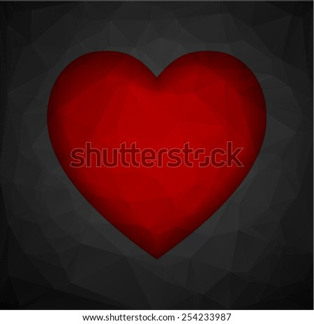 Abstract background in the style of cubism heart. Love wallpaper - stock vector