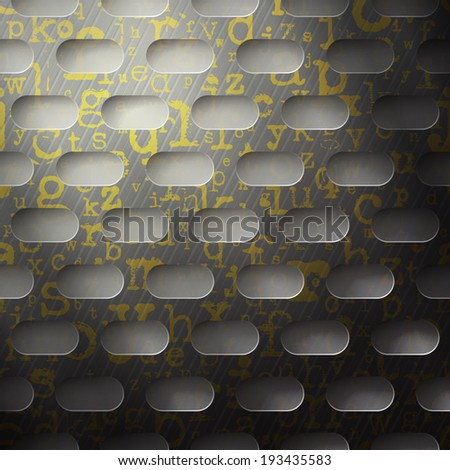 abstract background, metallic grid with golden alphabet letters - stock vector