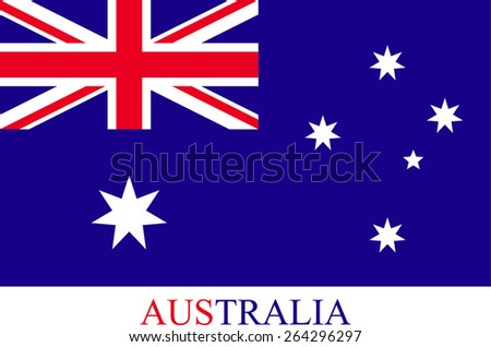 Abstract background of Australia flag, a conceptual design of Australian flag with its name colored with flag colors, red and blue - stock vector