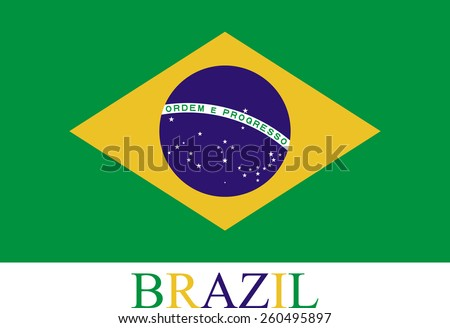 Abstract background of Brazil flag with the country's name colored with the flag color in a same order - stock vector