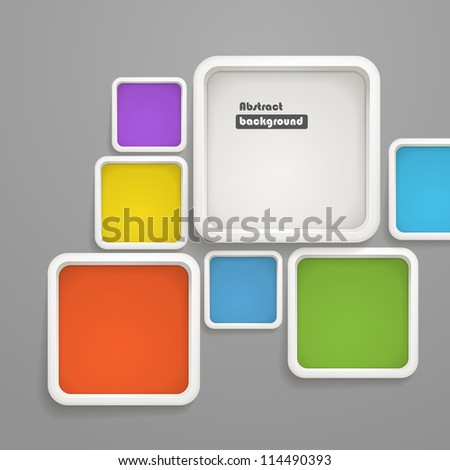 Abstract background of color boxes. Template for a text - stock vector