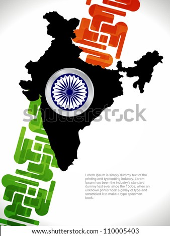Abstract background of india map with flag design. - stock vector