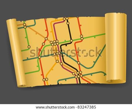 Abstract background of vintage metro scheme - stock vector
