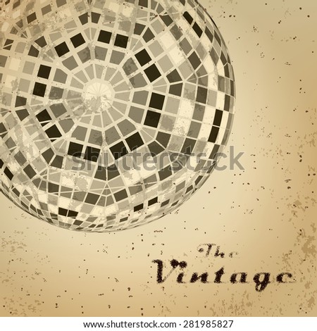 Abstract background of vintage sphere on faded worn paper - stock vector