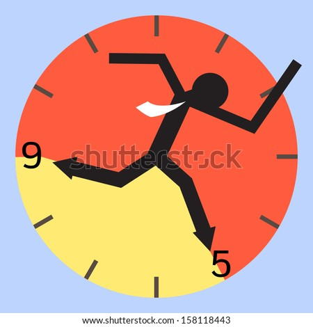 Abstract background on businessman running between nine to five o'clock. 9 to 5 job concept. Vector illustration.  - stock vector