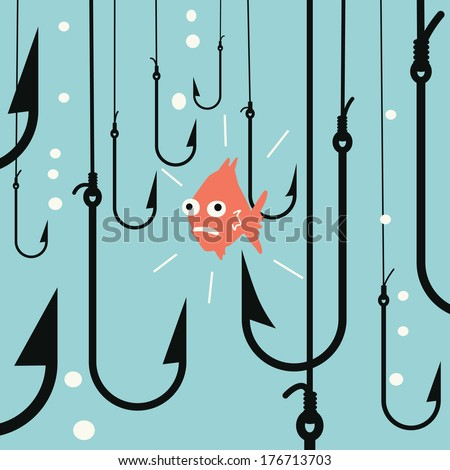 Abstract background on risk business concept, metaphor to small fish being in danger among many hooks.  - stock vector