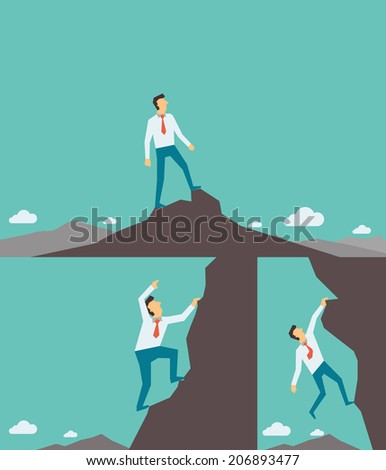 Abstract background on successful business concept, businessman climbing, and reaching to the top of high mountain. Each layers are separated, easy to used and edited.  - stock vector