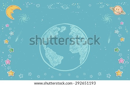 Abstract background. Planet earth and universe. Drawing vector - stock vector