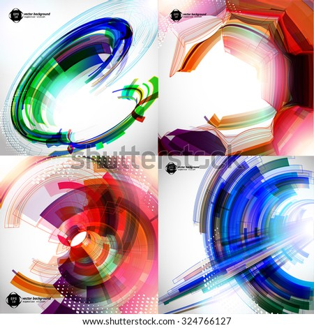 Abstract background set with colored lines and geometric elements  - stock vector