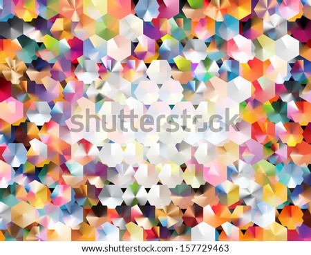"abstract background using two layers of hexagonal grids and blending modes to achieve a colorful ""confetti-like "" effect - stock vector"