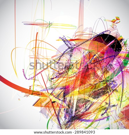 Abstract Background. Vector-Messy colorful lines - stock vector