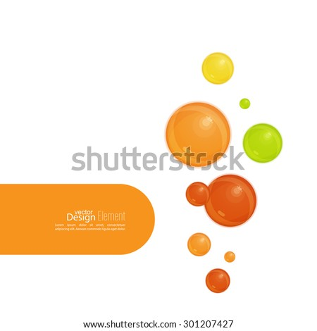 Abstract background wit orange soap bubbles and semicircular banner with space for text. - stock vector
