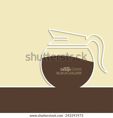 Abstract background with a coffee pot. Coffee house. for menu, restaurant, cafe, bar, coffeehouse.  Outline - stock vector