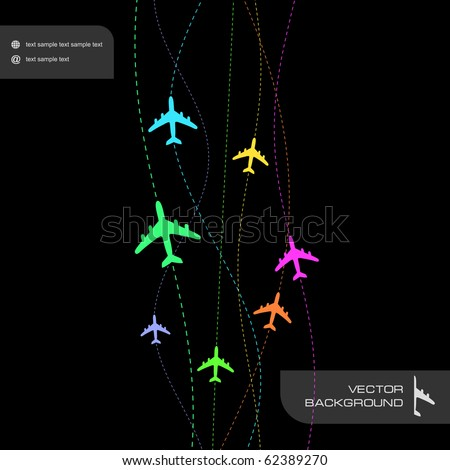 Abstract background with airplane lines. - stock vector