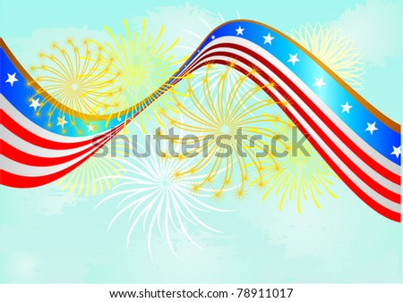 Abstract background with American flag and firework - stock vector