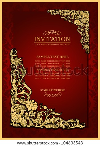 Abstract background with antique, luxury red vintage frame, victorian banner, damask floral wallpaper ornament, invitation card, baroque style booklet, fashion pattern, paper page template for design - stock vector