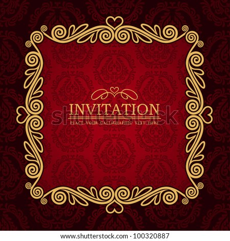 Abstract background with antique, vintage frame, red damask wallpaper with ornamental, gold invitation card and baroque style label, fashion seamless pattern, graphic, geometric ornaments for design - stock vector