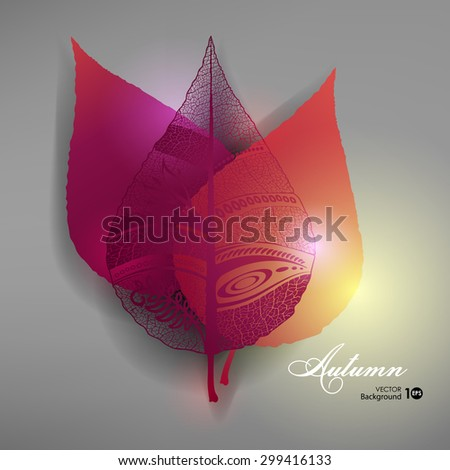 Abstract background with autumn leaves. Vector eps 10. - stock vector