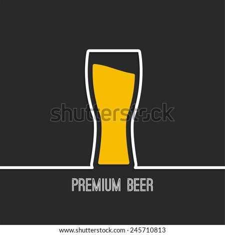 Abstract background with Beer glass with yellow liquid. Logo for restarana, pub menu, cafe - stock vector