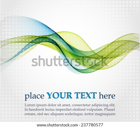 Abstract background with blue and green waves - stock vector