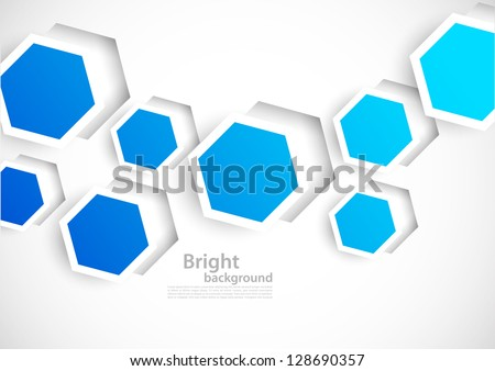 Abstract background with blue cut out hexagons - stock vector