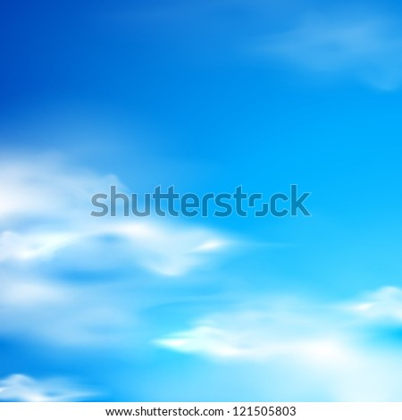 abstract background with blue sky and clouds - stock vector
