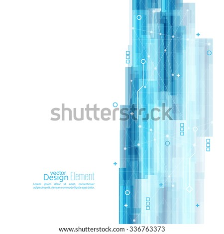 Abstract background with blue stripes. Concept  new technology and dynamic motion. Digital Data Visualization. For cover book, brochure, flyer, poster, magazine, booklet, leaflet - stock vector