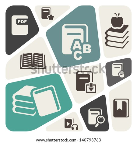 Abstract background with book icons - stock vector