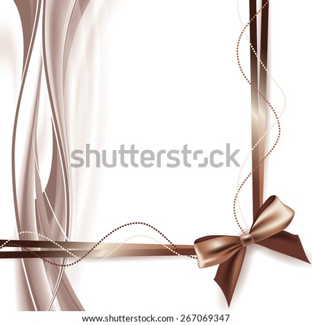 Abstract Background with Brown Bow and Ribbons. - stock vector