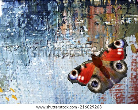 Abstract background with butterfly. Oil paints on canvas - stock vector