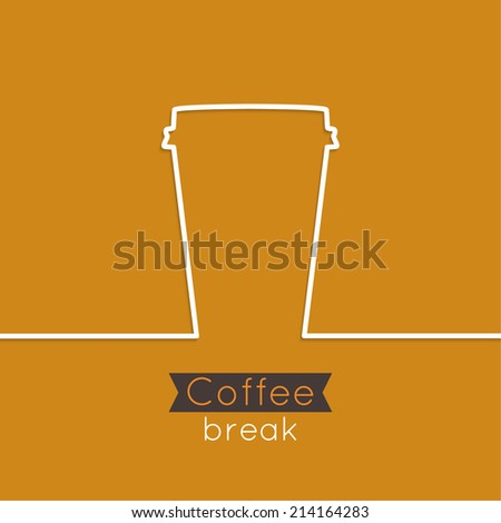 Abstract background with coffee hot drinking cup. from a white ribbon and text Coffee break. orange. for menu, restaurant, cafe, bar, coffeehouse. - stock vector