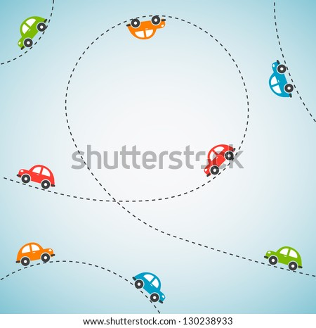 Abstract background with color cars. Vector - stock vector