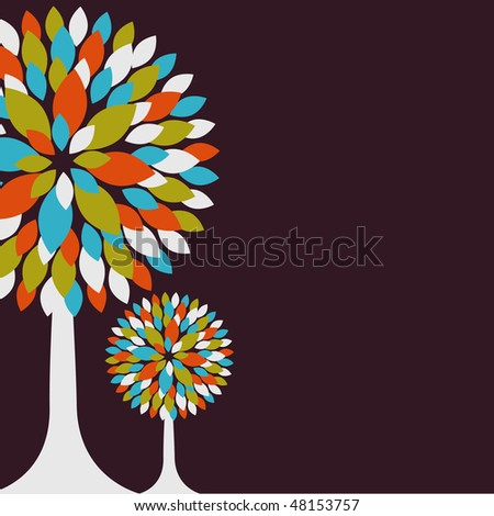 Abstract background with color tree. Vector illustration - stock vector