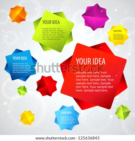 Abstract background with colorful 3d falling stars. Useful for banner design, business concept, website template or web ad. Creative Illustration multi colored objects and place for text. Vector - stock vector
